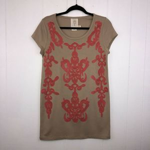 Meadow Rue Anthropologie Embroidered Tunic Dress